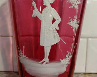"""Victorian Mary Gregory Cranberry Hand Enameled art Glass Vase 7.25"""""""