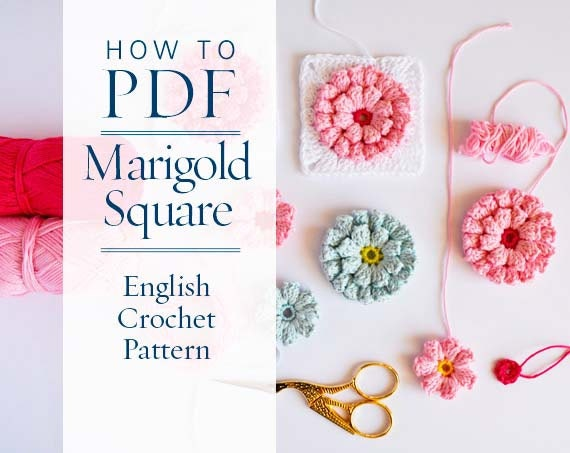 Granny square pattern diy PDF English Crochet Pattern Marigold ...