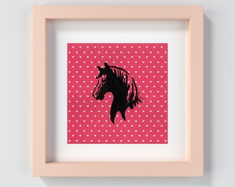 Pink Horse Print, Horse Decor, Horse Nursery Art, Pink Pony Decor, Horse Playroom Art, Horse Painting, Horse Wall Art, Pink Girly Art