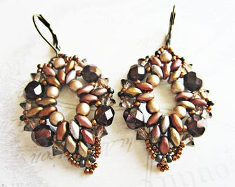 Earrings woven, super - duos, Czech glass beads, seed beads, bronze and chocolate