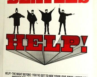 THE BEATLES HELP Poster, John Lennon, Vintage And Rare!!