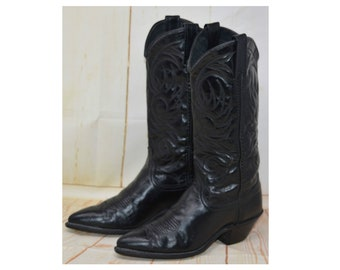 Vintage Womens ACME Black Leather Western Cowboy Cowgirl Boots Size 6.5 Medium (US)