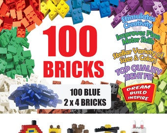 100 Blue LEGO Compatible Bricks