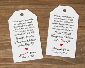 Jordan Almonds Favor Tag - Dragee Favors - Wedding Favor Tag - Almond Wedding Favors - Wedding Favor Labels - Wedding Gifts - LARGE