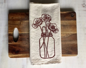 Flour Sack Towel (Unbleached) - Poppies in a Mason Jar - Russian - Housewarming Gift - Hand Screen Printed