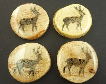 """4 Handmade Painted Deer Branch Buttons.  Approximately 1 1/4"""" or 35 mm Round.  Made from real wooden branch."""