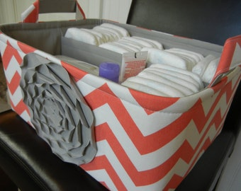"Ex Large Diaper Caddy-14""x 10""x 7""(CHOOSE COLORS)-One Divider-Baby Gift-Fabric Storage Organizer-Chevron-""Grey Rose on Coral Zigzag"""