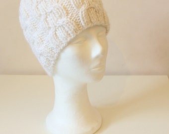Hand knit white cable hat in alpaca wool