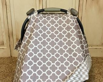 Gray Quatrefoil Car Seat Canopy