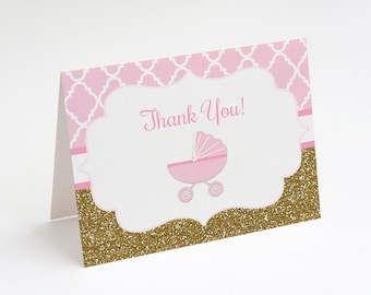 Pink and Gold Carriage Thank You Card, Baby Shower Thank You Card, Girl Baby Shower Thank You, Instant Download