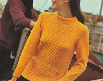 "1970's Sweater Pattern | Paper Pattern | 70's Vintage Knitting Pattern | 32"" To 39"" Bust 