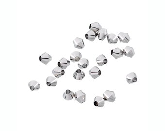 10 Stainless Steel Bicone Beads 6mm