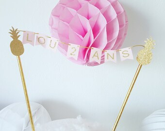 Mini cake Garland - custom name-straws and gold pineapple