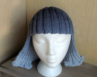Gray Ombre Hat Hair Knit Wig Anime Wig Silver Hair Gray Hair Grey Hair Wig