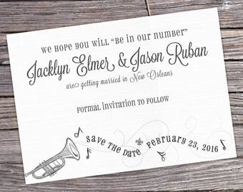 New Orleans Jazz Wedding Save the Date - Set of 50 cards and envelopes