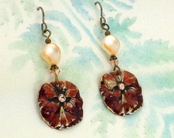 Vintage Style Pansy Earrings with Swarovski Rhinestones, Twisted Swarovski Pearls and Niobium Earwires