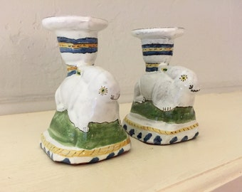Pair of Bunny Rabbit Hand-painted Candlesticks