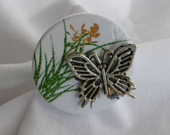 spring grass wire and silver butterfly Ring