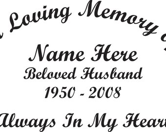 In Loving Memory Of Beloved Husband Memorial Window Decal