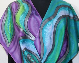 Silk Scarf Handpainted Purple Teal Handmade Silk Shawl LAVENDER WHISPERS, by Silk Scarves Colorado. Select Your SIZE! Birthday Gift.