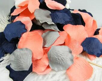 300 Coral Grey & Deep Navy Blue Artificial Rose Petals   Wedding Petals   Flower Girl Basket Petals   Ceremony Petals Table Decor