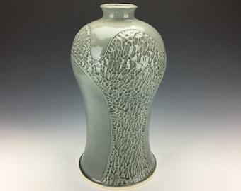 Wheel Thrown and Textured Stoneware Vase with Celadon Glaze
