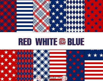 Red White & Blue Digital Paper | Stars Stripes Plaid Gingham Argyle Fourth of July Patriotic American Flag | Instant Download