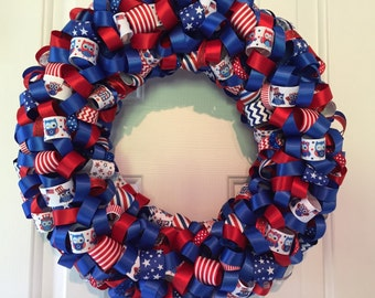 Handmade Patriotic Red, White and Blue Owl Ribbon Wreath