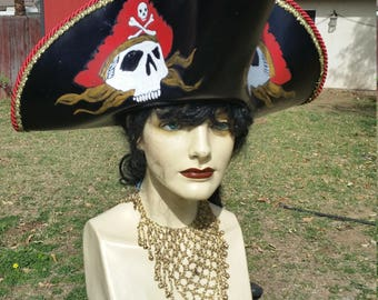 Hand tooled skull leather pirate hat