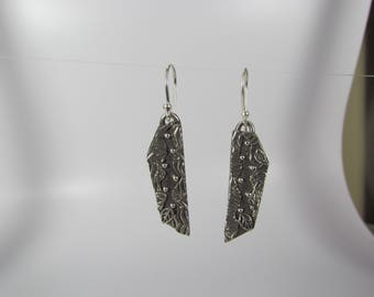 Item 4267 - Beautifully Handcrafted Textured Layered Extremely Lightweight Fine and Sterling Silver Earrings