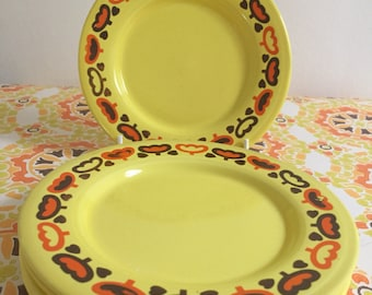 2 Retro 70's Staffordshire Pottery - side plates