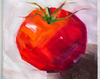Red Tomato Painting on Canvas Panel, Original Oil Painting, 8x8, still life, colourful oil
