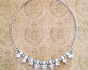1950s Necklace Rhinestone By Leo Glass
