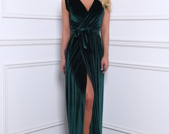 Dark Green Velvet Maxi Dress/ Wrap Neckline High Slit Bridesmaid Dress/ Sleeveless Waistband Sash Dark Green Party Dress