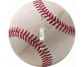 White Baseball Single Toggle Switch Plate Cover