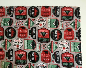 Grey, red, and mint camping adventure cotton flannel receiving blanket