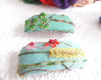 Blue green beaded hair barrette, embroidered thick hair clip, ponytail holder, mothers day or bridal gift