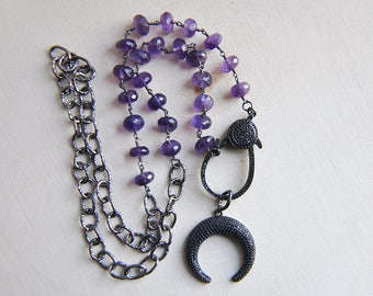 Moon Necklace, Amethyst Necklace, Black Moon, Crescent Moon, Witchy, Magical, Gypsy, Edgy, Dark Purple Necklace, Statement Necklace, Purple