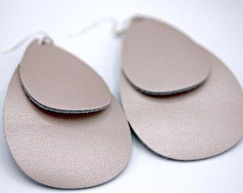 Double Tear Drop Leather Blush Rose Earrings