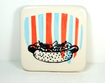 tile with blue & red-orange stripes and a Chicago Hot Dog print. ready to ship
