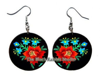 Red Flower - decoupage handmade earrings, Flowers Jewelry, Hypoallergenic Earrings