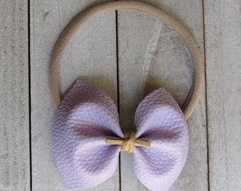 Lavender purple faux leather bow
