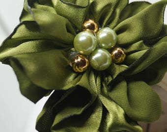 Fabric Flower Headband / Hair Band - Green