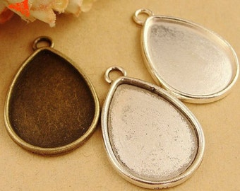 50Pieces/lot Pendant Tray Settings, Zinc Alloy Bases Cameo Cabochon Setting fit 18x25mm Teardrop Cabochons