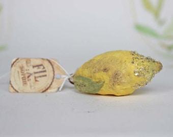 Miniatur Zitrone Nostalgischer Christbaumschmuck Wattefigur Ornament Spun Cotton