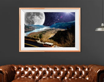 Cyber Monday, Wanderlust print, Travel adventure poster, Road trip, Surreal art, Bus transport, Printable art, Outerspace poster, Surreal