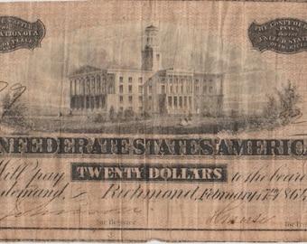 1864 Civil War CSA Confederate States of America 20 Bill Note Money
