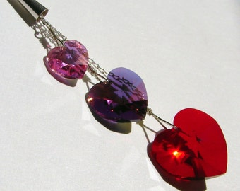 Triple My Love Necklace - Sterling Silver with Swarovski Crystal Heart Drops in Pink, Purple, and Red