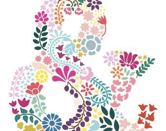 Flower Ampersand Cut File .SVG .DXF .PNG