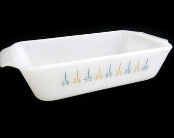 Vintage Anchor Hocking Fire King Candle Glow Loaf Pan - 441, white milk glass, blue & brown design - 1 quart, atomic, ovenware, farmhouse